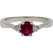 14kt White Gold, Ruby, and Diamond Ring