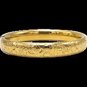 Victorian Gold Filled Bangle Bracelet with Floral Motif