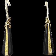 Art Deco 14kt Gold and Onyx Drop Earrings