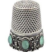 Continental Sterling Silver Thimble with Glass Cabochons