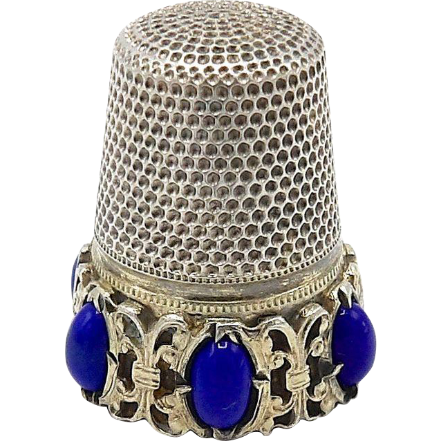 Silver and Lapis Thimble (800)