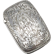 William Kerr Foliate Engraved Sterling Silver Match Safe