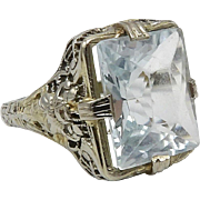 14K White Gold Art Deco Aquamarine Filigree Ring, 5.83 ctw