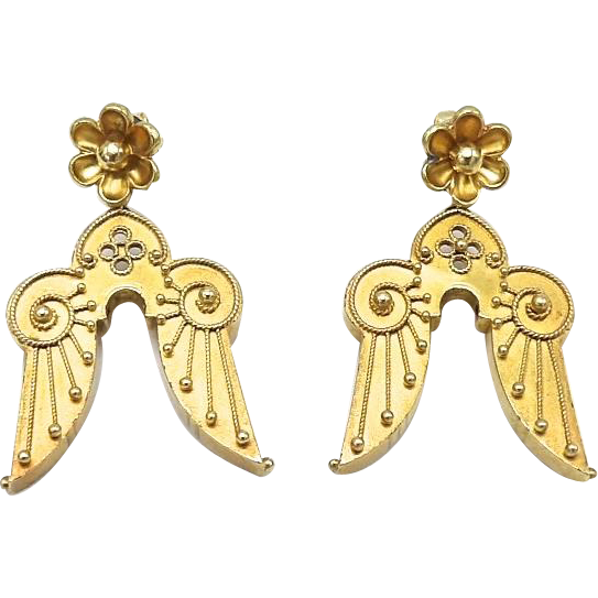 Victorian 14kt Gold Etruscan Revival Angel Wing Earrings