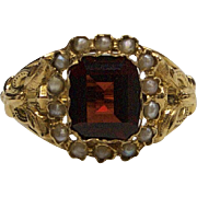 14kt Gold, Seed Pearl, and Garnet Ring