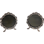 Pair of Round Sterling Silver Picture Frames
