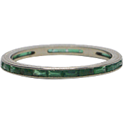Vintage 18kt White Gold and Synthetic Emerald Eternity Band