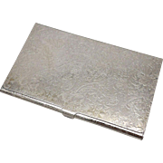 Vintage Sterling Silver Floral Card Case