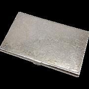 Vintage Sterling Silver Floral Card Case