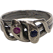 Sterling Silver Sapphire and Ruby Snake Ring