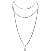Victorian Sterling Silver Pocket Watch Chain Necklace