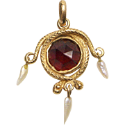 14kt Gold, Garnet and Seed Pearl Snake Pendant