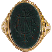 Beautiful 15K Gold and Bloodstone Intaglio Signet Ring