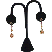 14kt Gold, Madagascar Ruby, Pink Tourmaline, Spessartite Garnet, and Sunstone Earrings