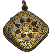Antique Damascene Flower 22K Gold Locket