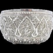 Vintage Burmese Sterling Silver Repoussé Bowl