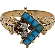Edwardian 14kt Rose Gold, Turquoise, and Diamond Ring