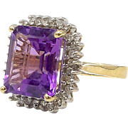14kt Gold, Amethyst and Diamond Ring