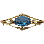 Edwardian 10kt Gold and Blue Topaz Brooch