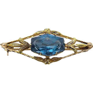 Edwardian 10kt Gold and Blue Topaz Brooch