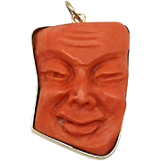 14kt Gold and Carved Chinese Coral Immortal Figural Pendant
