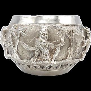 Antique Sterling Silver Repoussé Bowl from Burma