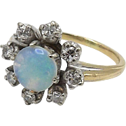 Victorian 14kt Yellow and White Gold Ring with Large Opal and Diamonds