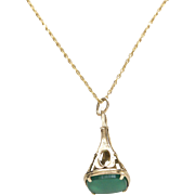 9kt Gold and Green Chrysoprase Watch Fob Pendant on 14kt Gold Chain