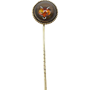 Late Victorian Reverse Painted Crystal Fox Stick Pin
