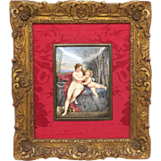 Venus and Cupid French Limoges Enamel in Gilt Gesso Frame, 1871