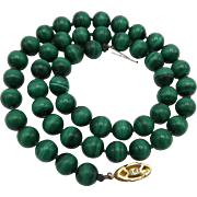 Vintage Green Malachite Bead Necklace