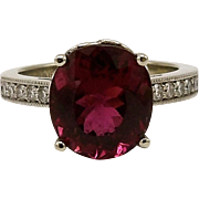 Gorgeous Crimson Rubellite Cuprian & Diamond Gemstone Ring