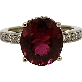 Gorgeous Crimson Rubellite Cuprian & Diamond Gemstone Ring
