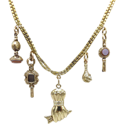 Unique 18KT Yellow Gold 5-Charm Necklace