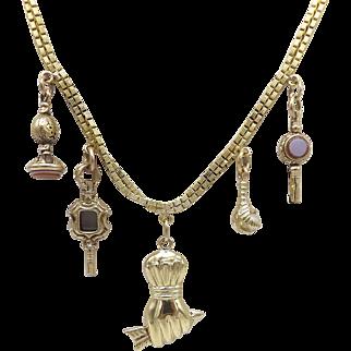Unique 18KT Yellow Gold 5-Charm Necklace