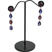 14kt White Gold, Rhodolite Garnet and Tanzanite Earrings