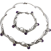 Taxco Mexican Sterling Silver & Amethyst Necklace & Bracelet by MPO