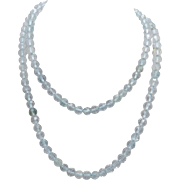 Hand Faceted Vintage Blue Topaz Bead Necklace