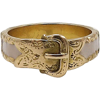 Georgian 15kt Gold and Pink Enamel Buckle Ring, circa 1830