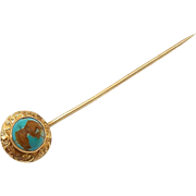 Late Victorian 14kt Gold and Turquoise Stick Pin