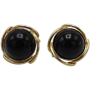 14KT Gold Vintage Black Onyx Earrings