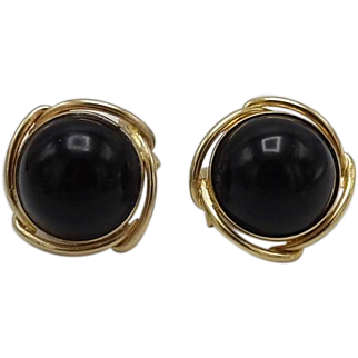 14KT Gold Vintage Black Onyx Earrings