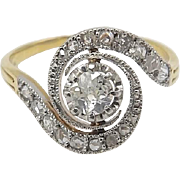 Edwardian 19kt Gold, Platinum, and Diamond Swirl Ring