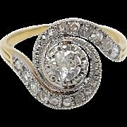 Edwardian 19kt Gold, Platinum, and Diamond Swirl Ring