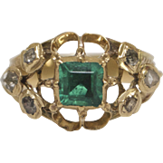 Lovely 10kt Gold, Diamond and Emerald Georgian Style Ring