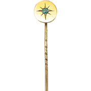 Late Victorian 14kt Gold and Emerald Starburst Stick Pin