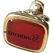 "Georgian 15kt Gold and Engraved Carnelian ""Souvenir"" Watch Fob Pendant"