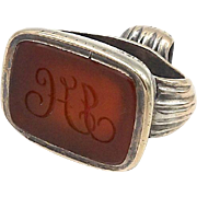 Victorian 12kt Gold and Carnelian with Engraved Initials Watch Fob Pendant