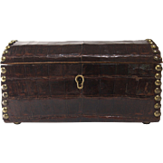 Aligator and Brass Jewelry Casket