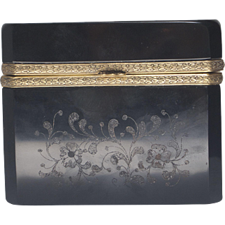 Beautiful Hand Etched Black Amethyst Glass with Ormulu Mount Box or Casket
